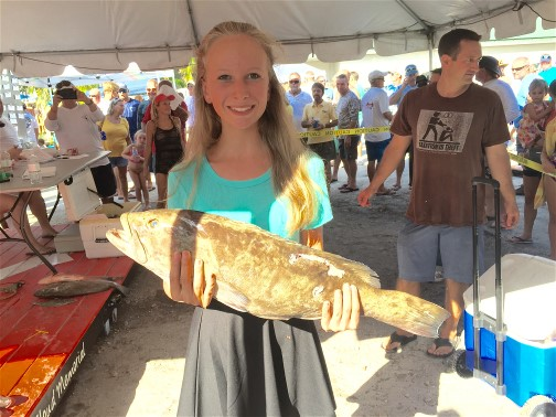 Elea Nellis 14 years old from Orlando, Fl. took second place with a Sheepshead fish weighing 3.55 lbs.
