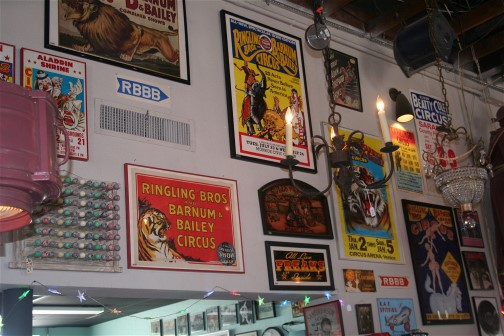 Amazing posters, programs, and authentic circus props line the walls and aisles of this eclectic salvage shop