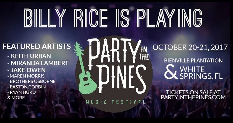 Billy Rice Band to Perform at Party In The Pines