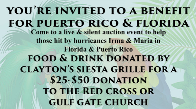 Come out to Clayton's! Help our Friends in Florida and Puerto Rico