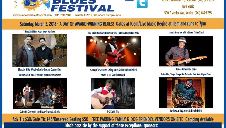 Last Chance to get On-Line Advance Tickets for Suncoast Blues Festival