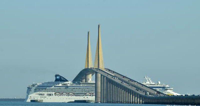 Florida Sunshine Skyway Bridge and the Cruise Ship