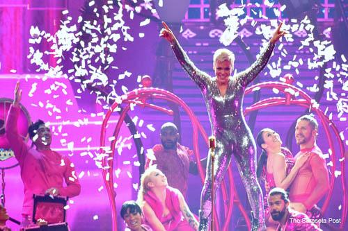 "Pink at her ""Beautiful Trauma"" tour."