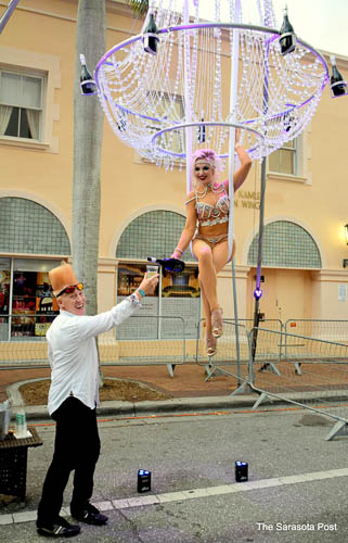 Living Champagne Chandelier and live acrobat with Bello Nock!