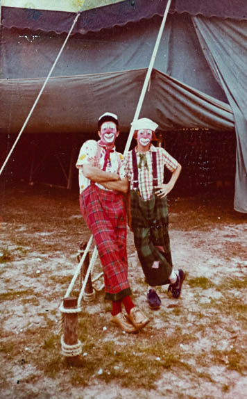Father and son under the big top in 1978: Graham Ahrhart (left) and son Mike Ahrhart (right).