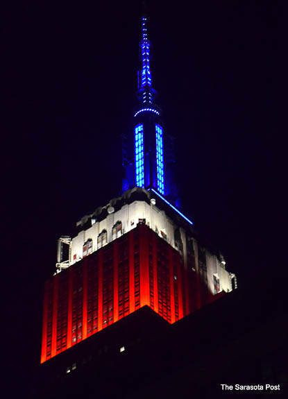 The Empire State Building in NYC lit up for the 4th of July