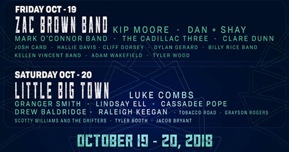 Party In The Pines official daily lineup for the Main Stage Oct 19 and 20, 2018.