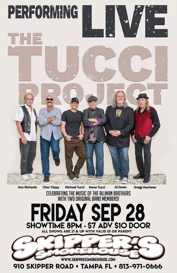 The Tucci Band comes to Skipper's Smokehouse in Tampa, FL