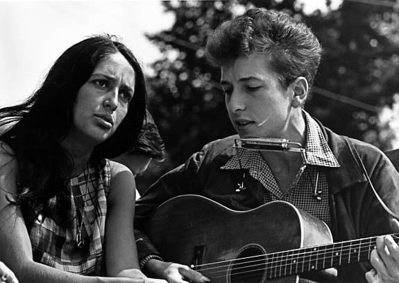 Bob Dylan has been heard since the 1960's Anti-War music era. Here with Joan Baez.