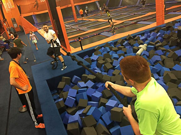 There are foam pits to fall into at Sky Zone Sarasota.