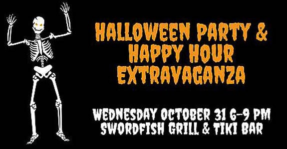 The Swordfish Grill & Tiki is having a Halloween Party & Happy Hour Extravaganza