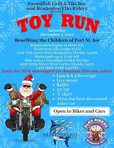 The Bradenton Elks Riders to gather to benefit Toy Drive for children from Hurricane Michael.