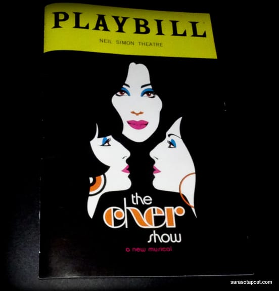 The playbill for The Cher Show playing on Broadway in NY