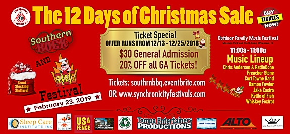 "Southern Rock and Bar-B-Q Festival in Riverview, FL. ""12 Days of Christmas"" Sale"