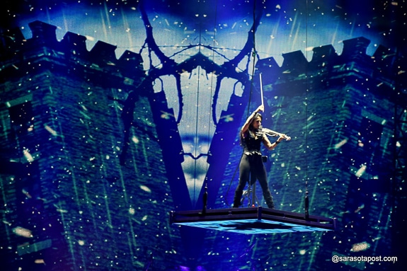 Asha Mevlana plays an electric violin with the Tran-Siberian Orchestra