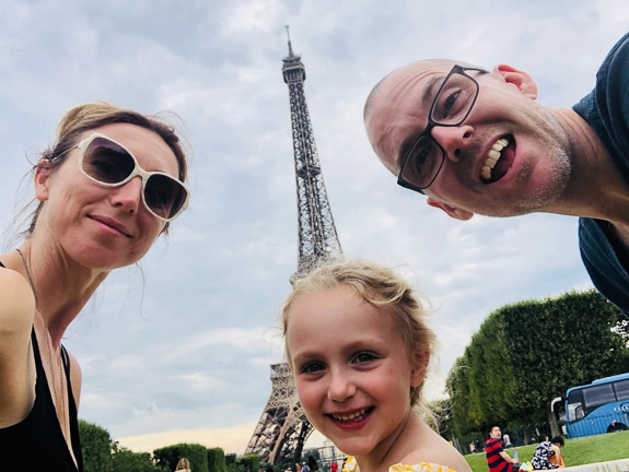 "Alma Curran with her family in Paris asks, ""What made you happy today?"""