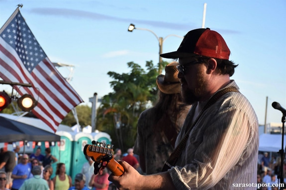 Damon Fowler plays at the Cortez Stonecrab Festival with special guest Chris Anderson from Rattlebone.