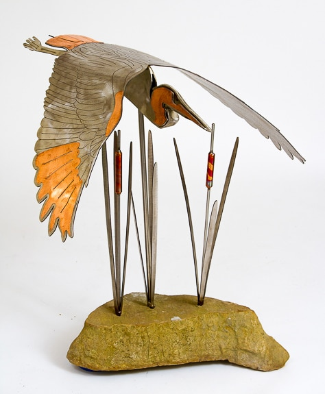 Laura Kellersberger sculpture 'Great Blue Heron' at the 2nd Annual Sarasota/Lakewood Ranch Fine Art Festival