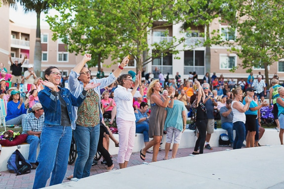 The audience enjoys the live music at Bradenton Riverwalk's Music in the Park.