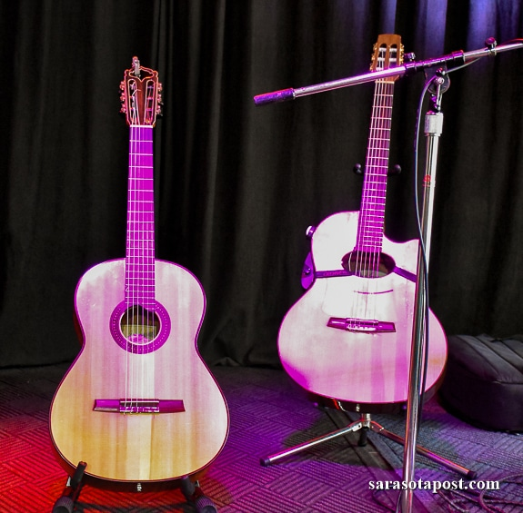 Lulo Reinhardt and Daniel Stelter propped their guitars onstage at Fogartyville Community Media and Arts Center in Sarasota, FL.