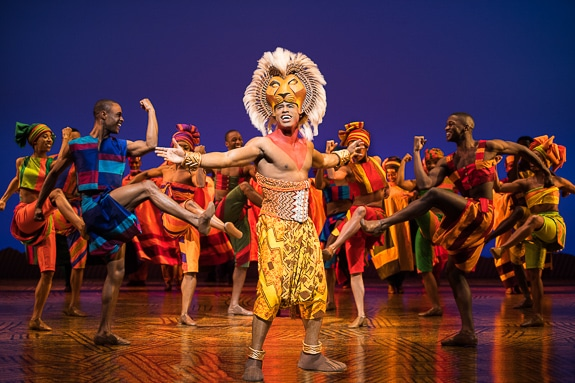 Jared Dixon plays the grown Simba in The Lion King at The Van Wezel in Sarasota, FL