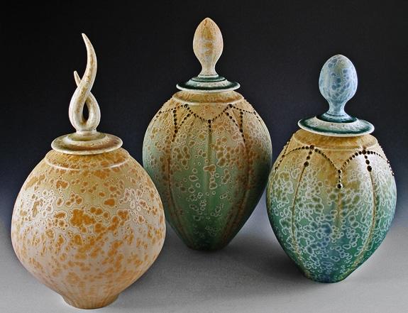 Glen Wood lidded jar trio at the 6th Annual Spring Fine Art Festival in Sarasota, FL