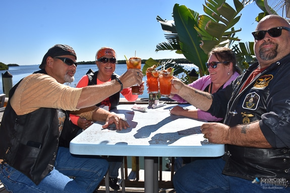 Locals enjoying Bloody Sunday at The Swordfish Grill and Tiki in Cortez, FL