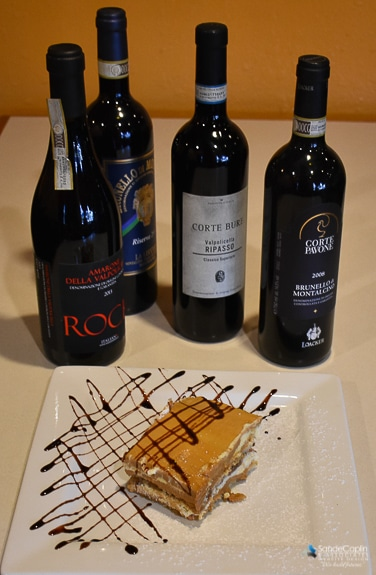 Wonderful selection of wine and desserts at Tiramisu Ristorante Italiano in Bradenton, FL