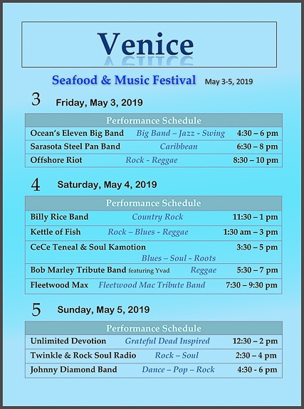 Band line up for Venice Seafood & Music Festival