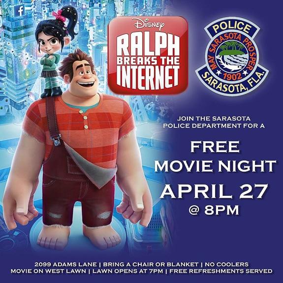Blue + You Movie Night at the Sarasota Police Department in Sarasota, FL