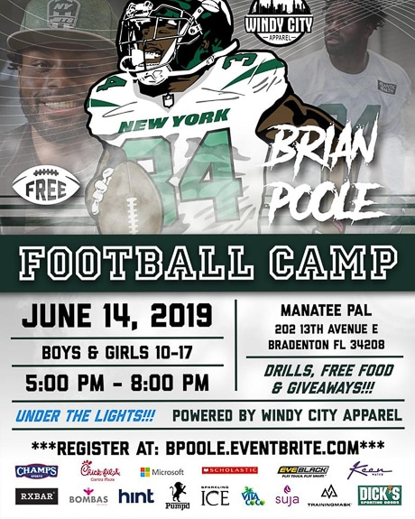 Brian Poole Football Camp will be at Manatee PAL in Bradenton, FL