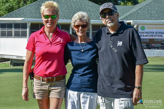 Nancy Franklin's friend Kat Cox, mother Sharon Boden, and husband Brian Franklin were able to come to the Charity Golf Tournament.
