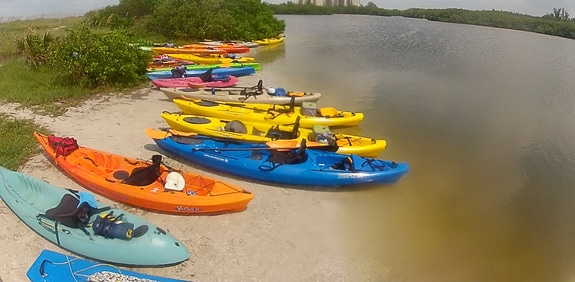 The beautiful kayaks and paddle boards available at Liquid Blue Outfitters on Siesta Key, FL