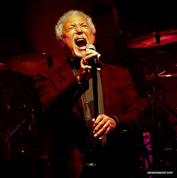 Tom Jones sings with his band at Ruth Eckerd Hall in Clearwater, FL