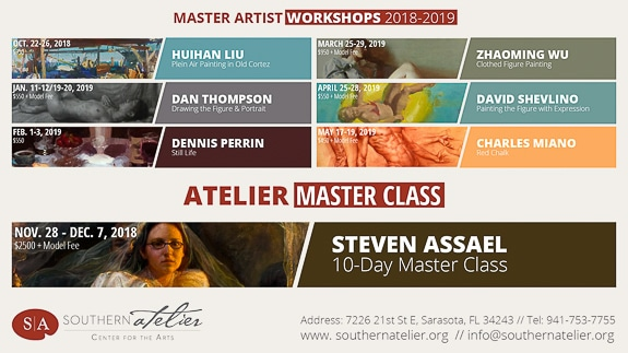 Open Session Drawing and Painting on Wednesdays at Southern Atelier in Sarasota, FL