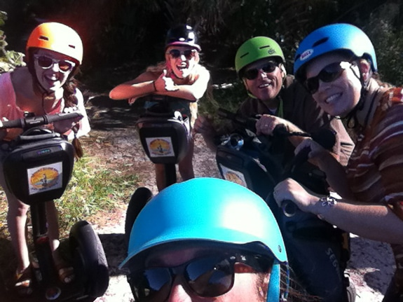 A group of riders get a fun tour on Anna Maria Island with Casey from Zegway By The Bay