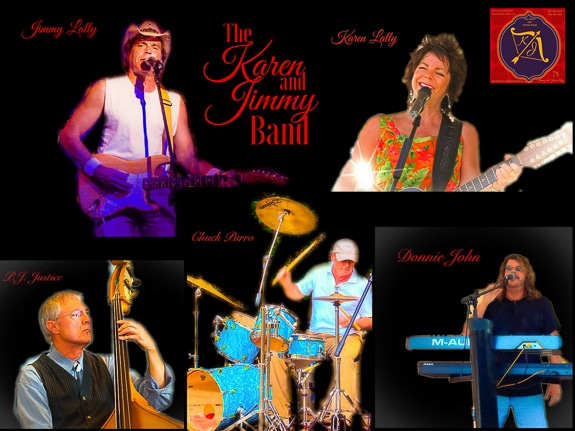 The Karen and Jimmy Band includes Karen and Jimmy Lally, Paul Justice, Chuck Purro and Donnie John on the Suncoast of Florida.