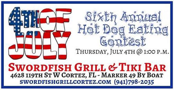 Sixth Annual Hot Dog Eating Contest at Swordfish Grill & Tiki Bar in Cortez, FL