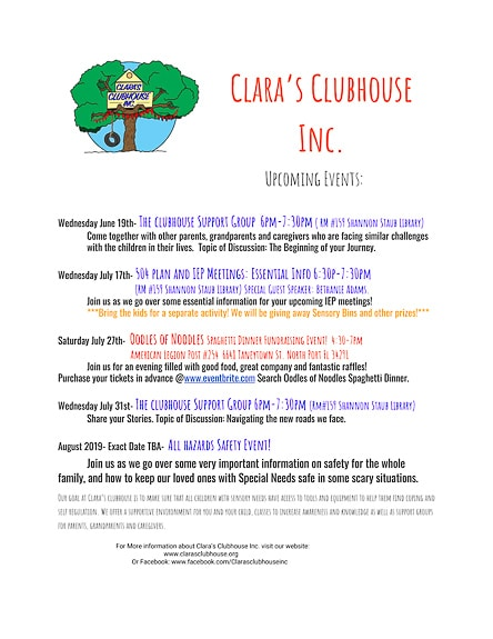 Clara's Clubhouse has several events to assist families in the Sarasota County area.
