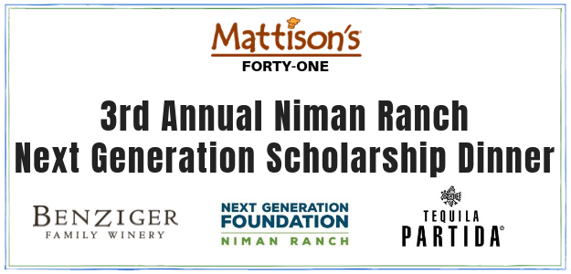 Mattison's 41 Hosts Niman Ranch Next Generation Scholarship Wine Dinner
