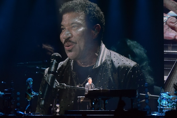 "Lionel Richie played his piano and sang ""Hello"" at his ""Hello Hits Tour"" in Tampa, FL"
