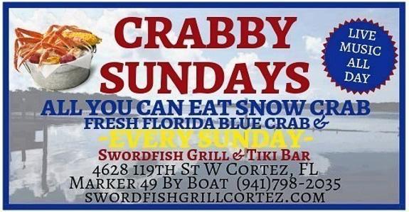 Crabby Sundays at Swordfish Grill and Tiki in Cortez, FL