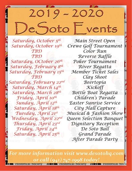 Calendar of events for The Hernando DeSoto Historical Society in Bradenton, FL