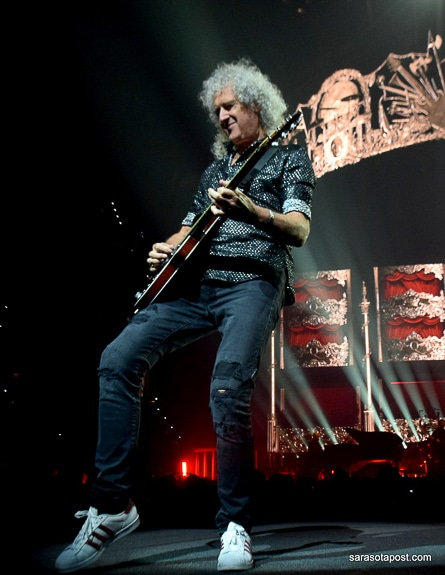 Brian May plays guitar in Queen at the Amalie Arena in Tampa, FL