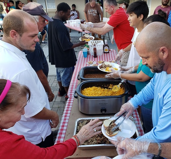 Serving meals at Hunger's End in Bradenton, Fl