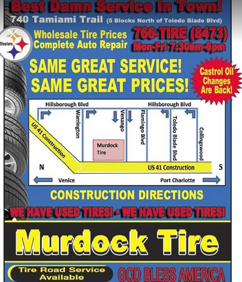 Murdock Tire & Auto Center in Port Charlotte, FL is the author's favorite.