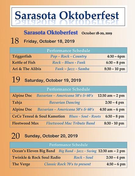 Music line up for Oktoberfest in Sarasota, FL