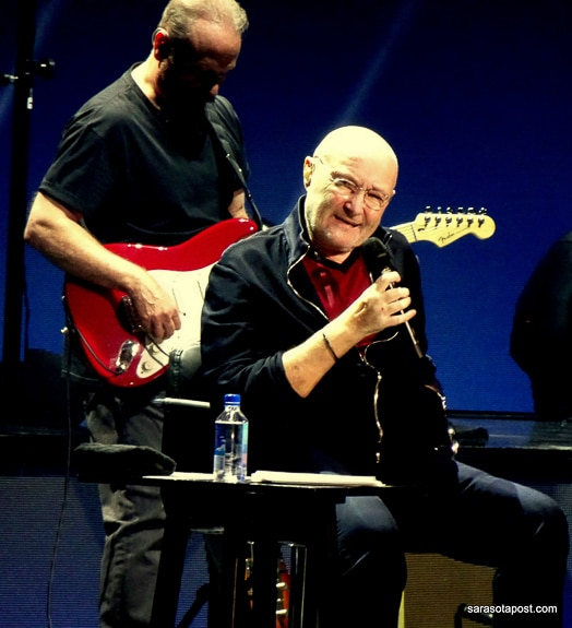 Phil Collins and Daryl Stuermer perform at Amalie Arena in Tampa, FL