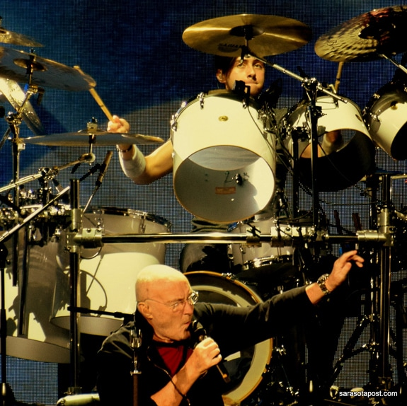 Phil Collins and Nicolas Collins perform at Amalie Arena in Tampa, FL