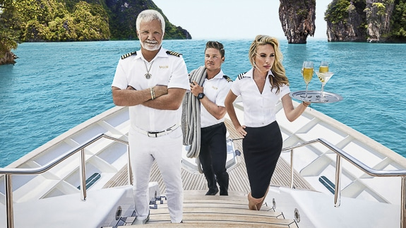 The reality show Below Deck crew on a yacht.